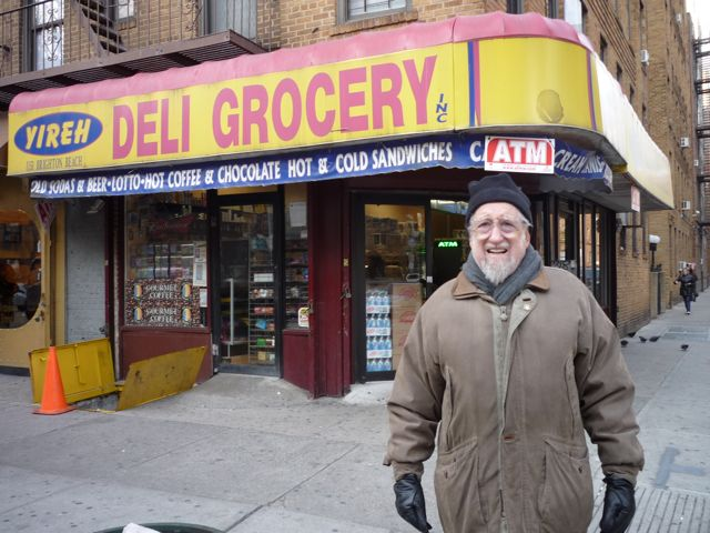 Dad in front of deli